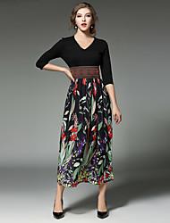 Trapèze Robe Femme Sortie Plage Vintage Chic de Rue,Fleur Col en V Midi Manches ¾ Noir Coton Printemps Automne Taille Haute