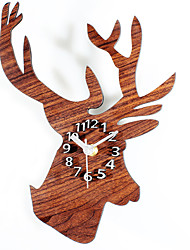Modern/Contemporary Houses Silent European Style Retro Pastoral Deer Head Wall ClockNovelty Wood Others 30 Indoor Clock