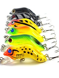 Lot 6 pcs New Arrival Hard Fishing Frog Lure 3D Eyes Treble Hooks Artificial Bait Fishing Tackle 5.5CM 8.8G