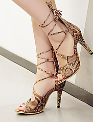 Sandals Spring Summer Fall Club Shoes PU Party & Evening Dress Casual Stiletto Heel Lace-up Blue White Beige Khaki
