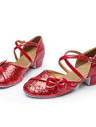 Non Customizable Girl's Dance Shoes Satin Satin Latin Sandals Low Heel Indoor Gold Dark Brown Leopard