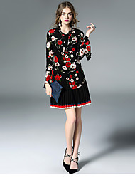 Women's Going out Holiday Street chic Spring Summer Blouse,Floral Off Shoulder Long Sleeve Black Silk Thin