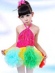 Latin Dance Dress For Girls Children's Performance Polyester Splicing 2 Pieces Sleeveless High Ballet Dance Dress Headpieces Green/Fuchsia
