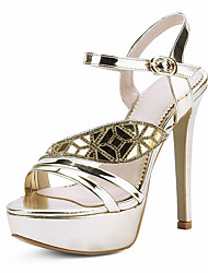 Sandals Summer Other Club Shoes Leatherette Wedding Party & Evening Dress Stiletto Heel Rhinestone Buckle Silver Gold