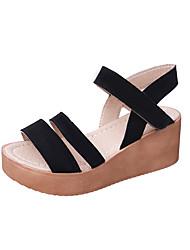 Sandals Spring Comfort PU Outdoor Low Heel Black Khaki