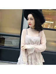 корейская версия сладкий и элегантный темперамент чистой пряжи кружева двух частей платье торт юбка мода