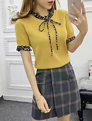 Sign 2017 spring and summer new Korean wild round neck short sleeve lace collar bow tie Slim knit