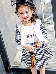Girl's Houndstooth Dress,Cotton Summer Spring Fall Long Sleeve