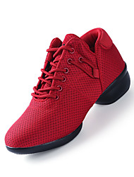 Non Customizable Women's Dance Shoes Fabric Fabric Modern Sneakers Chunky Heel Practice Black Red White