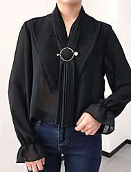 Корейская версия сладкой весной и летом с длинными рукавами воротник давление плиссированные шифоновые рубашки женская слоеного отправить