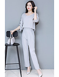 The new spring ladies blouse sleeve Slim feet pants suit pants two-piece detachable piece
