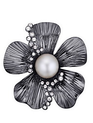 Women's Brooches Crystal Pearl Natural Pearl Austria Crystal Alloy Flower Jewelry For Daily