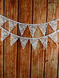 2.8m 12 Flags White Flower Banner Pennant Lace Bunting Banner Booth Props Photobooth Birthday Wedding Party Decoration