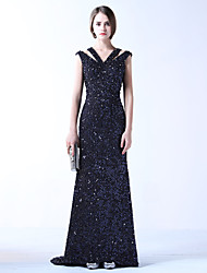 Formal Evening Dress - Sparkle & Shine Trumpet / Mermaid V-neck Sweep / Brush Train Lace Stretch Satin withBeading Lace Pearl Detailing