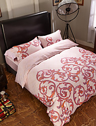 Solid Duvet Cover Sets 4 Piece Cotton Pattern Reactive Print Cotton Queen 1pc Duvet Cover 2pcs Shams 1pc Flat Sheet