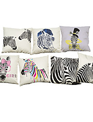 Set of 7 Watercolor zebra pattern Linen  Cushion Cover Home Office Sofa Square  Pillow Case Decorative Cushion Covers Pillowcases