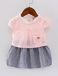 High Quality New Arrival Hot Sale Girl's Striped DressCotton Summer Spring Short Sleeve