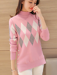 # 4256 autumn and winter new Slim spell color diamond pattern knitted garment under split half turtleneck