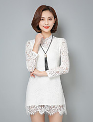 2017 spring new female lace shirt collar long-sleeved long section of the inner lace shirt Slim lace blouse ride