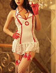Cosplay Costumes Party Costume Sexy Nurse Festival/Holiday Halloween Costumes Red White Patchwork Lace Dress Gloves Leg Warmers Briefs Hat