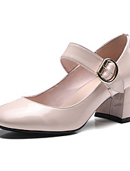 Women's Heels Spring Summer Fall Winter Patent Leather Office & Career Dress Party & Evening Chunky Heel Buckle Black Nude