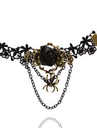 Bracelet de cheville/Bracelet Forme de Fleur Mode Hip-Hop Pierre Dentelle Noir Aux femmes Bijoux 1pc