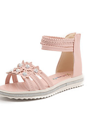 Women's Flats Summer Leatherette Casual Party & Evening Dress Wedge Heel Buckle Flower Beige Blue Blushing Pink Walking