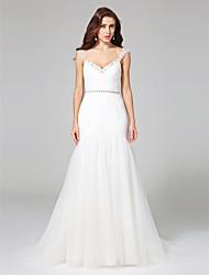 LAN TING BRIDE Fit & Flare Wedding Dress - Glamorous & Dramatic Open Back Court Train Straps Tulle withBeading Ruche Sash / Ribbon