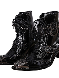 Men's Shoes Leather Spring Summer Fall Winter Novelty Fashion Boots Combat Boots Comfort Boots Walking Shoes Rivet Animal Print Zipper