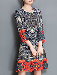 Fashion V Collar 3/4 Sleeves Printing Loose Wild Dress Daily Leisure Home Dating Party Dresses