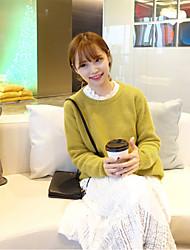 17 лет весенних моделей корейской версии случайных шерстяной свитер хеджирования дикий желтый сплошной цвет вязать свитер