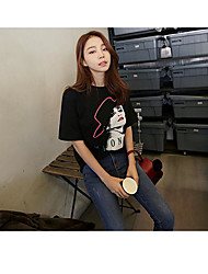 Spot spring new fashion Han Guoguan network picture printed T-shirt