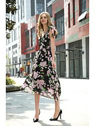 Kadın Dışarı Çıkma Günlük/Sade Sade Sokak Şıklığı Kılıf Elbise Çiçekli,Kolsuz Askılı Diz-boyu Suni Kürk Pamuklu Akrilik Polyester Bahar