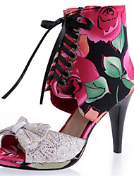 Women's Sandals Summer Gladiator Silk Dress / Casual Stiletto Heel Bowknot / Split Joint / Zipper / Lace-up Blue / Red