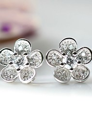 Stud Earrings Love Luxury Sterling Silver Zircon Cubic Zirconia Imitation Diamond Silver Jewelry For Daily Casual 1 pair