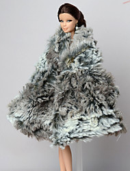 Casual More Accessories For Barbie Doll Gray Solid Coat For Girl's Doll Toy