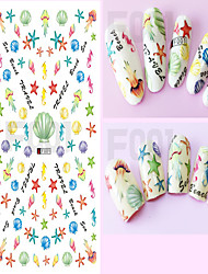 1pcs Colorful Lovely Cartoon Image Starfish Shells Cat Design Nail Art DIY Sticker 3D Nail Stickers  Nail Art Beauty Tips F001-010