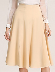 Going out Casual/Daily Midi Skirts,Street chic A Line Solid Spring Fall
