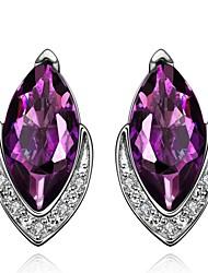 Pendientes cortos Amatista Circonita Cristal Zirconio Zirconia Cúbica Cobre Chapado en Oro La imitación de diamante Joyería de Lujo Gota