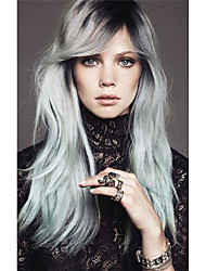 Long Silk Straight Black/silvery Grey Ombre Side Swept Bangs Synthetic Wigs