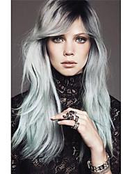 жен. Парики из искусственных волос Без шапочки-основы Длиный Прямые Черный / серый Темные корни Боковая часть Волосы с окрашиванием омбре