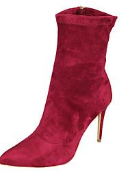 Women's Boots Spring Fall Winter Other Fabric Wedding Party & Evening Dress Stiletto Heel Rhinestone Gore Black Burgundy
