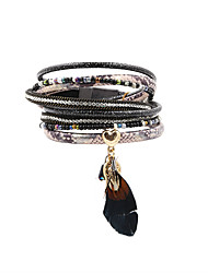 Fashion Womne Trendy Multi Rows Rhinestone Set Printed Leather Bracelet