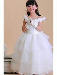 vestido de bola de la longitud del tobillo vestido de la muchacha de flor - organza cuello de la cuello sin mangas con la flor de ydn