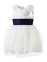 Vestido Chica deFloral-Algodón-Todas las Temporadas-Blanco