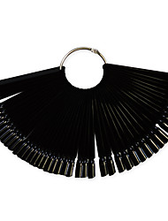 1set 50tips Black Nail Art Fan Board Manicure Tools With Metal Round Ring Nail False Tips For UV Polish Decoration