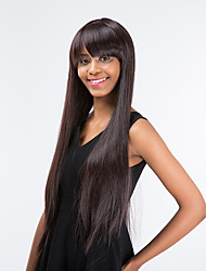 New Pattern Partial Fringe Deep Maroon Prevailing Long Straight Hair