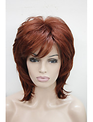 New Fashion Copper Red Cascading Style Naturally Wavy Medium Length Synthetic Wigs