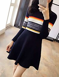 2016 autumn and winter new Korean striped long-sleeved knit dress Girls long section hedging a round neck dress