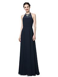 2017 Lanting Bride® Floor-length Chiffon Elegant Bridesmaid Dress - Sheath / Column Jewel with Beading Sash / Ribbon Pleats